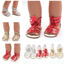 Summer Doll Shoes Cute Golden Red Silver Sandals Fit 43cm Baby New Born Doll and 18 inch for Girl Doll Accessories BJD Doll цены онлайн