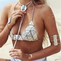 Unikalne Boho Łańcuch Srebrny Metal Trójkąt Bikini Ciała Biustonosz Biustonosz Pierś Ciała Naszyjnik Biżuteria Prezent Dla Seksownych Dziewczyn Plaży