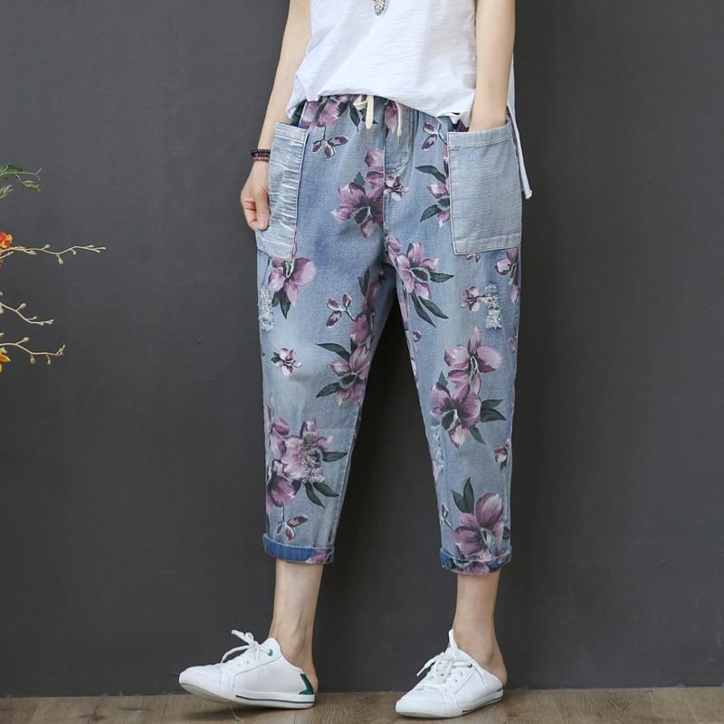 Vintage Capris Jeans Woman Summer 2020 High Waist Calf-Length Denim Pants Floral Print Jeans Capri For Women Jean Femme