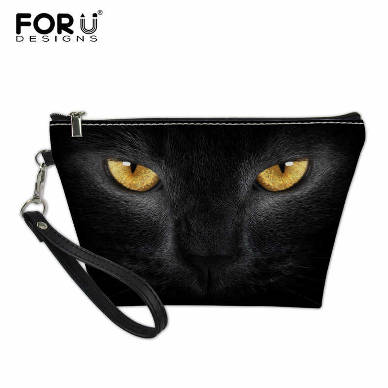 FORUDESIGNS Black Cat Printing Make Up Bag for Women Siamese Cats Makeup Pouch Organizer for Cosmetics Women's Toiletry Bag 2018