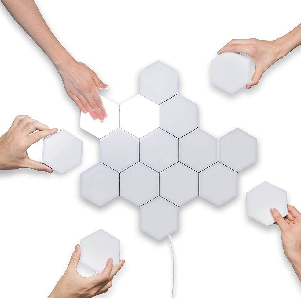2019 New Touch Sensitive LED Wall Lamp Light Creative Magnetic Hexagons Decoration Night Light for Bedroom Living Room Bathroom in LED Indoor Wall Lamps from Lights Lighting