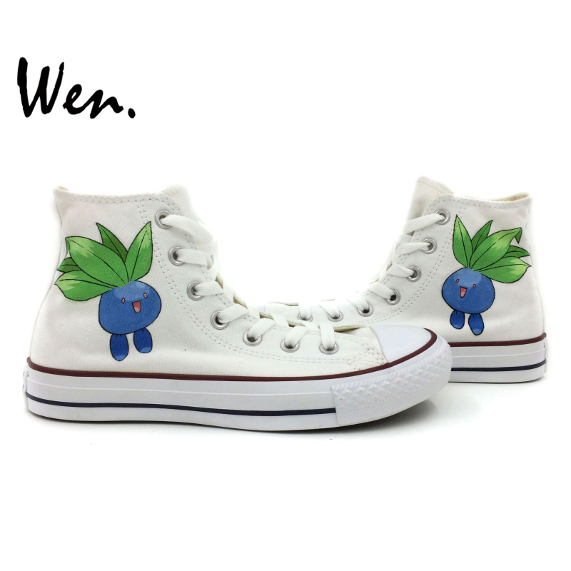 Wen White Hand Painted Shoes Custom Design Pokemon Oddish Pocket Monster Men Women's High Top Canvas Sneakers Christmas Birthday wen original hand painted canvas shoes space galaxy tardis doctor who man woman s high top canvas sneakers girls boys gifts