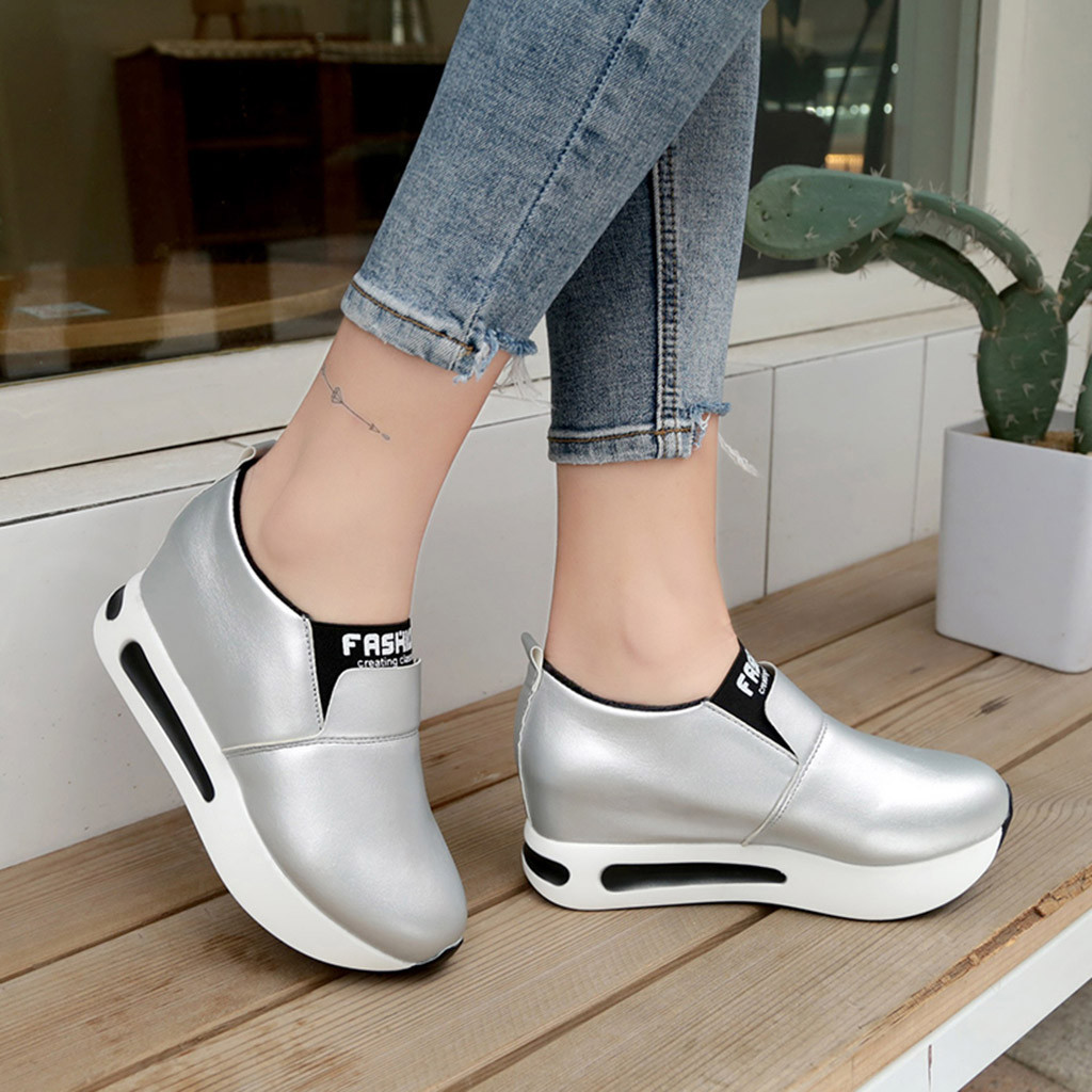 Sneakers Wedges Basket Platform Sport-Shoes Slip-On Thick Femme Fashion Casual title=