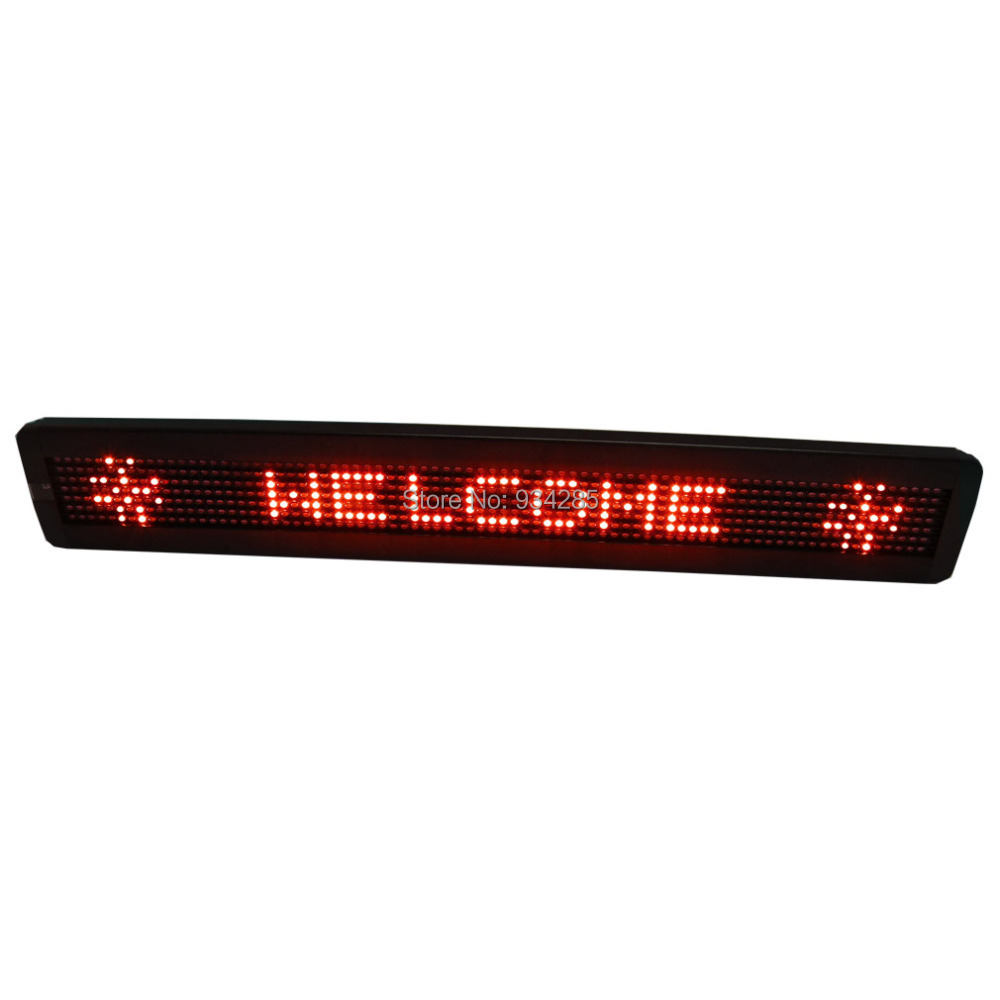 Leadleds 26 X 4 Remote Programmable Led Sign Scrolling Message Board for Your Business - Red Message programmable led digital scrolling message name tag id badge 11 44 pixels