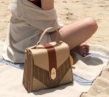 Rattan tasche Kleine Handmade Straw Bag Instagram Beliebte Strandtasche für Frauen Crossbody Ata Handtasche Luxus Designer Einkaufstaschen