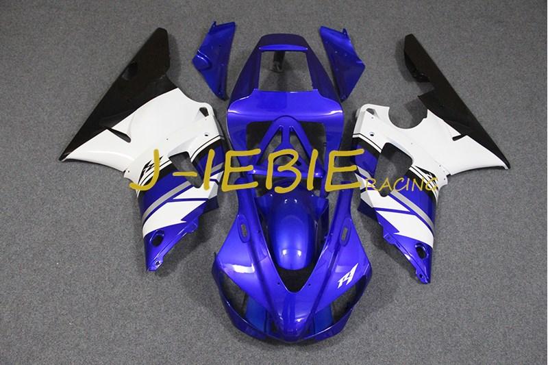 Blue white black Injection Fairing Body Work Frame Kit for Yamaha YZF 1000 R1 1998 1999