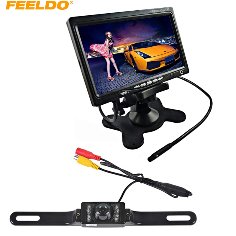 FEELDO DC12V 7 Rearview Headrest Standalone LCD Monitor With License CCD Camera Car Rear View System #J-3752 smaart v 7 new license