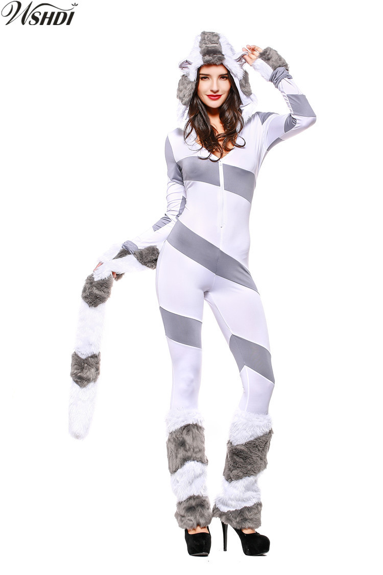 gray and white striped long sleeve zipper polar bear jumpsuit