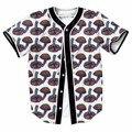 Ядовитые Красочные Грибы Мужчины Трикотажные Изделия Бейсбола Новый Хип-Хоп Уличной US Размер Кнопки Homme 3D Синяя Рубашка Бренд Clothing