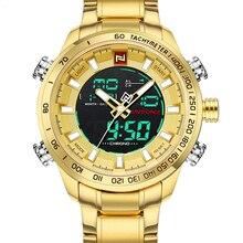 ساعات رجالي من NAVIFORCE حزام فولاذي ذهبي فاخر مقاوم للماء رياضي LED عسكري رقمي ساعة يد كوارتز ساعة رجالية