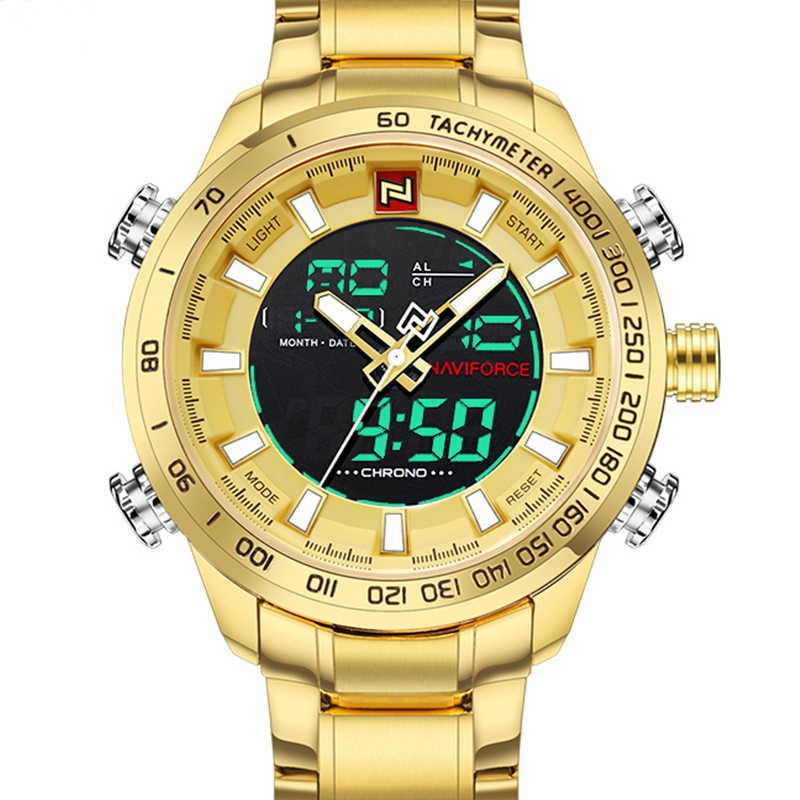NAVIFORCE Mens Watches Luxury Gold Steel Strap Waterproof Sports LED Digital Military Quartz Wristwatch Clock Relogio Masculino-in Quartz Watches from Watches