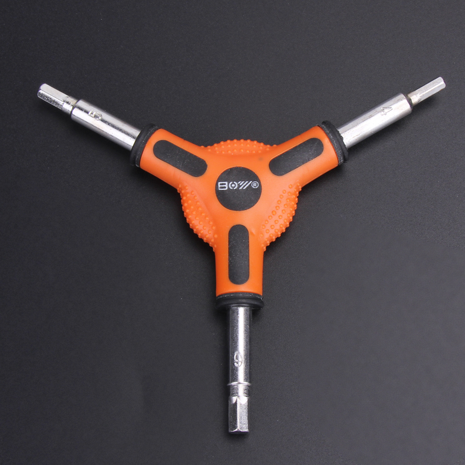 New 3-Way Y Type Bike Allen 4//5//6mm Hex /& 8//9//10mm Socket Wrench Tool Set Black