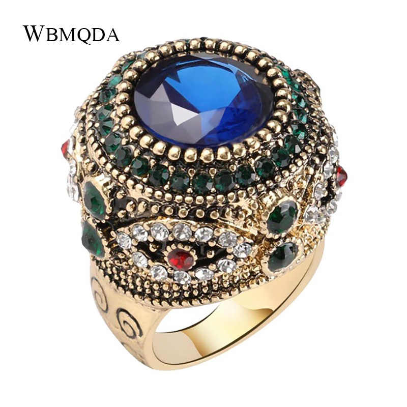Di lusso In Oro Dubai Grande Anello Mosaico Di Cristallo Colorato Corona Anelli di Cerimonia Nuziale Per Le Donne Dell'annata Dichiarazione Dei Monili Della Boemia