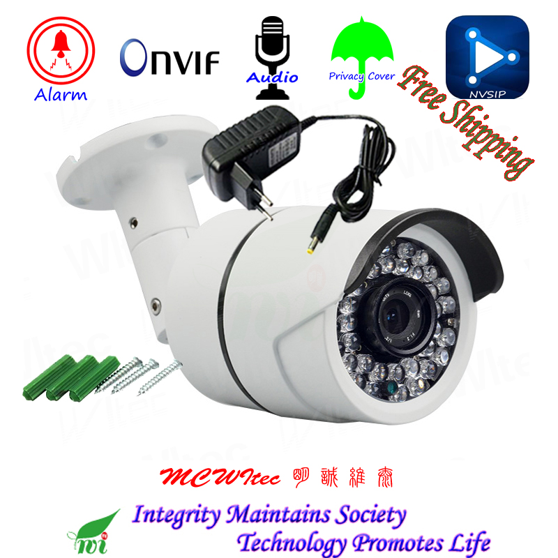 US $25 44 52% OFF|Metal CCTV H 265 Audio MIC Motion Alarm RTSP Privacy  Cover 1080P Outdoor IP Camera Security ONVIF 36 IR Leds Night View IP Cam  -in
