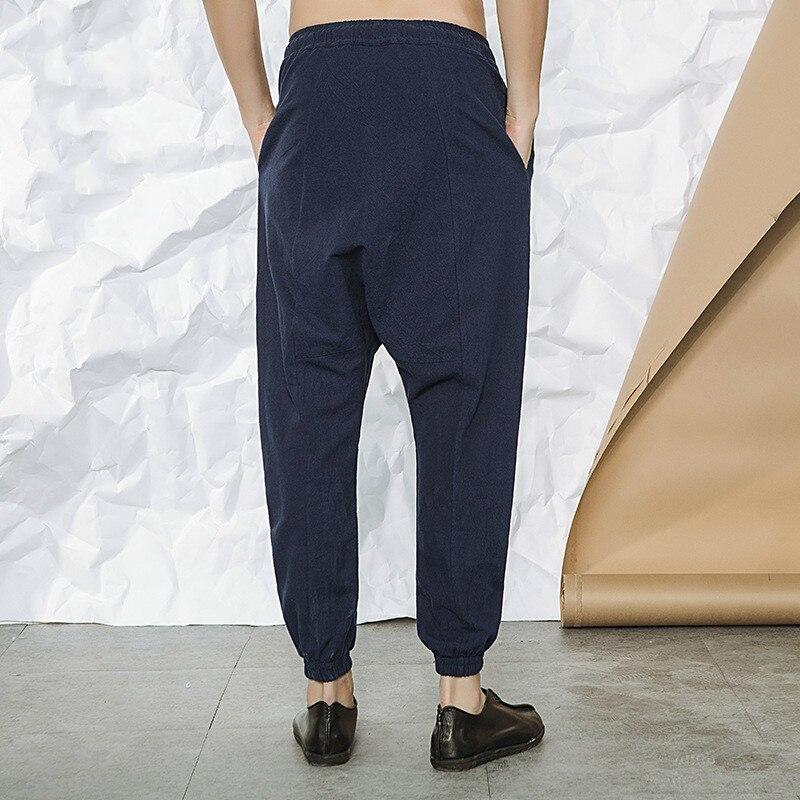 D495 Masculina Lino Los Vestido Suelta Estilo Pantalones Chino azul Algodón Negro Casuales Y Fino gris Haren Hombres Noveno Lápiz Hombre De Verano tTqUw6PUn