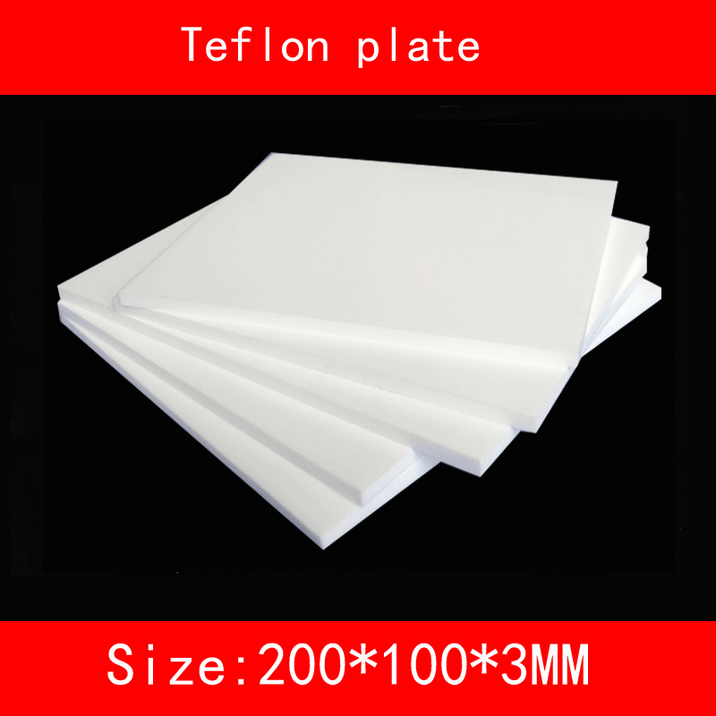 size 200*100*3mm Teflon plate resistance high-temperature working(degree Celsius between -200 to +260 ) PTFE sheet size length width thickness 100mm 100mm 3mm wear resistant high temperature resistance peek plate sheet