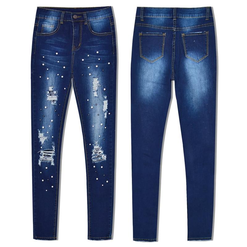 Hollow Denim Cintura Otoño Push azul Blue Up Delgado Mujeres Bordado Out Hole Ripped Pantalones Skinny Moda Jeans Alta Primavera x0aFqWZwF