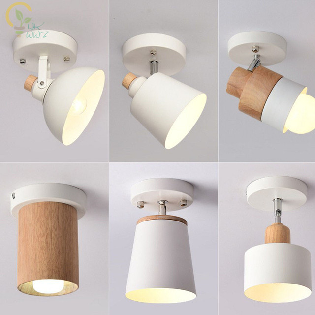 Modern Wooden Led Ceiling Lights White Metal Corridor Light Kitchen Wood Lamps Small Surface Mounted Lighting