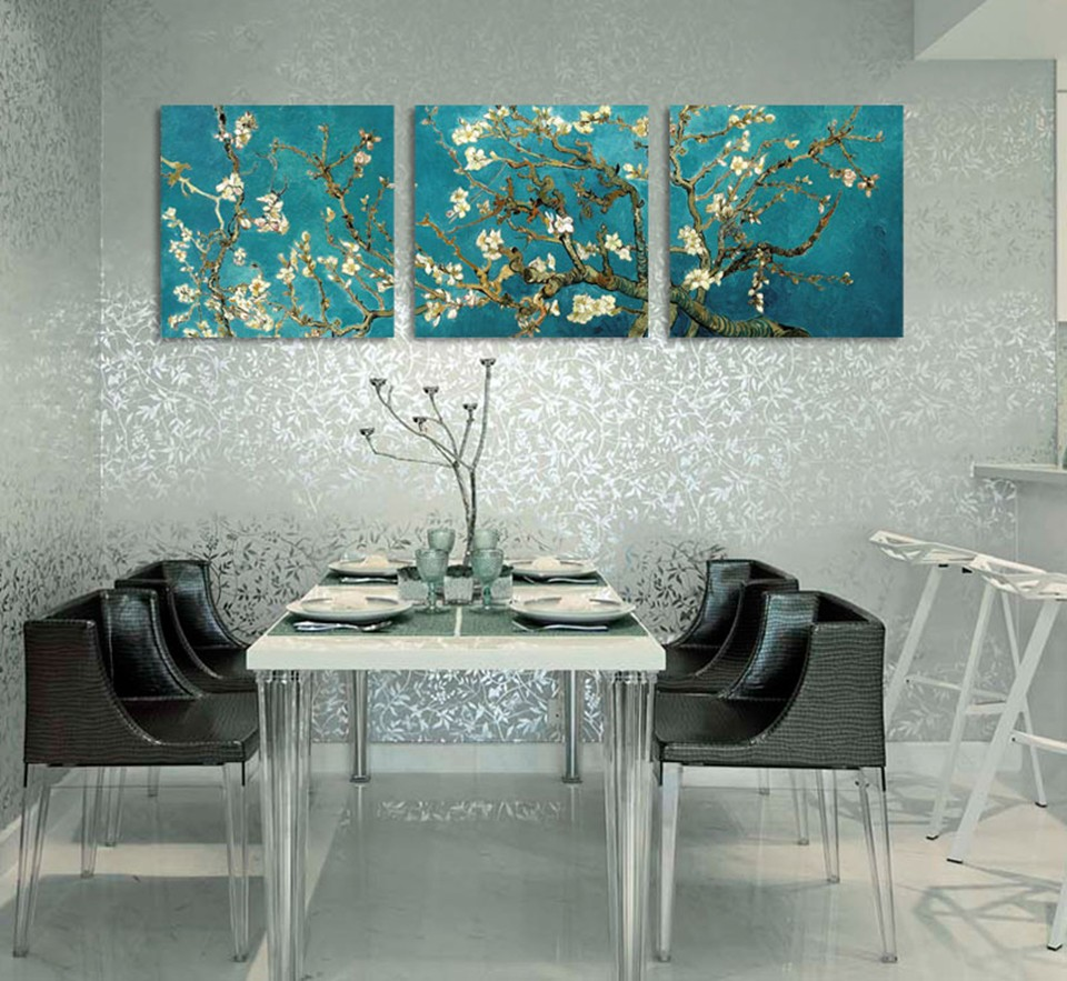 buy abstract printed van gogh flower spraypainting 3 piece set wall art decor. Black Bedroom Furniture Sets. Home Design Ideas