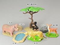 Solid Animal Model Toy Monkey Bread Tree Leopard Hippopotami Sika Deer Onta