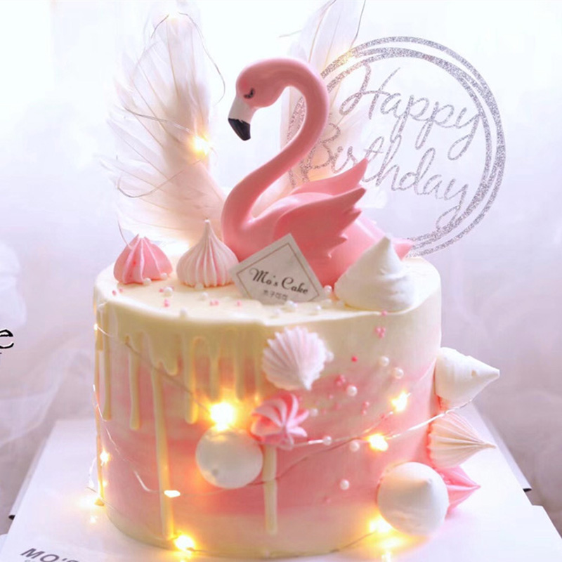 Home Cake Decorating: Cake Topper Pink Flamingo Decor For Wedding Party Supplies