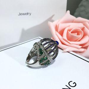 Image 3 - Dazz Marke Offenen Ring Kreative Fantasie Vogel Käfig Runde Haus Ring Voll Zirkon Farbe Dubai Frauen der Männer Spaß Luxus zubehör 2019
