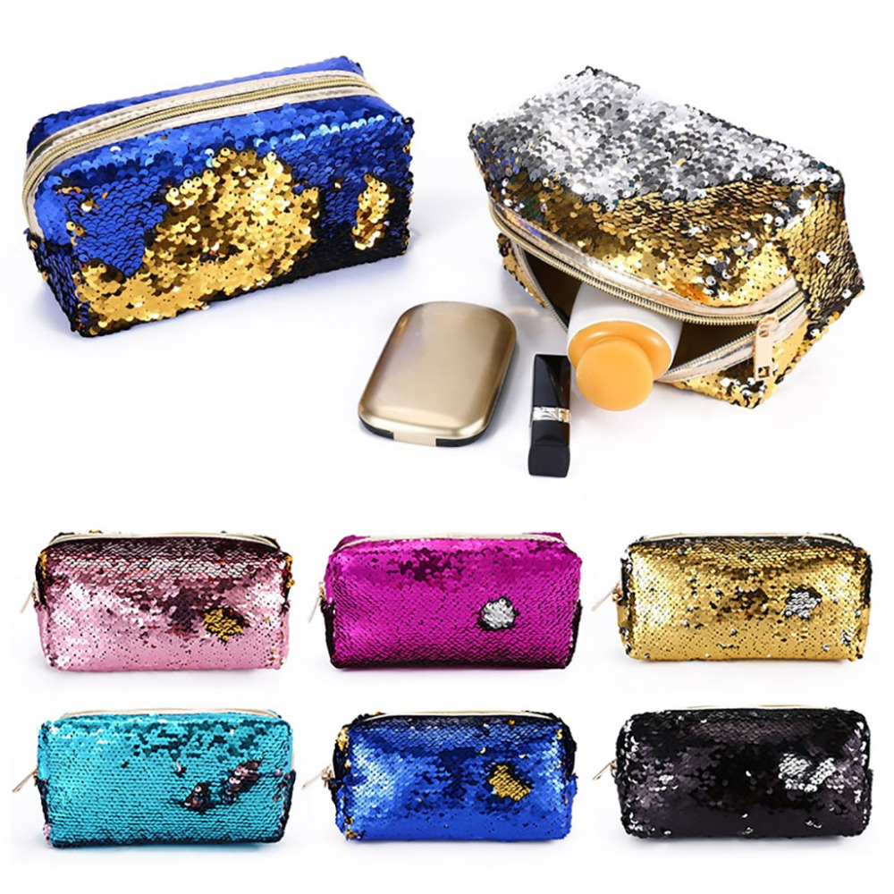 Mermaid Sequin Women Glitter Cosmetic Bag Pencil Box  Makeup Case Gift