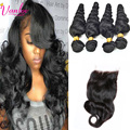 Malaysian Virgin Hair With Closure Malaysian Loose Wave With Closure 4 Bundles With Closure Loose Wave Virgin Hair  Weave 7A