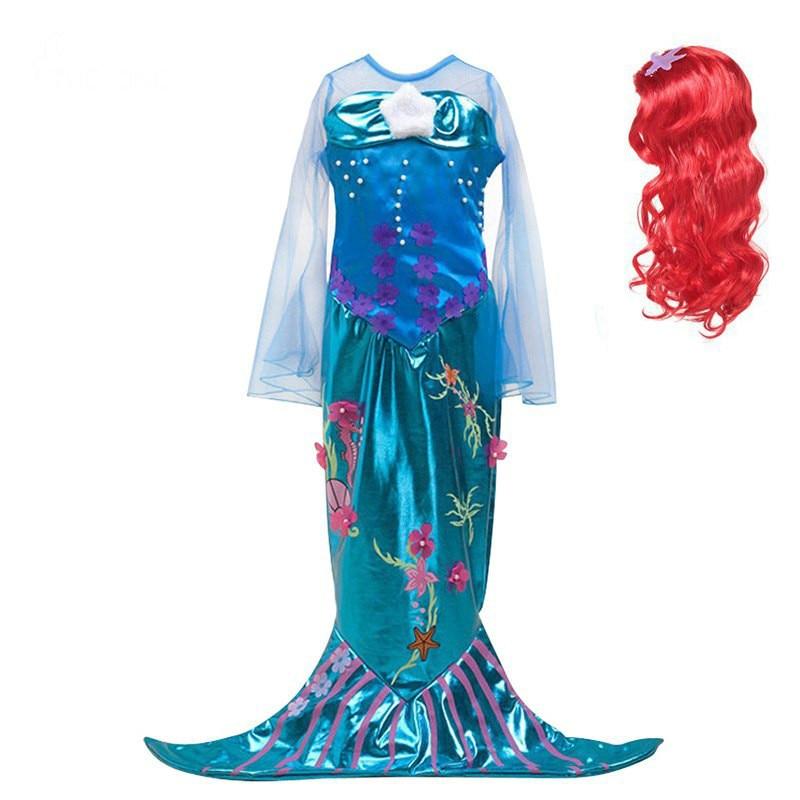 Baby Girls The Little Mermaid Ariel Princess Dress Child Cosplay Costume Fantasia Mermaid Tail Kids wig Christmas new year wig