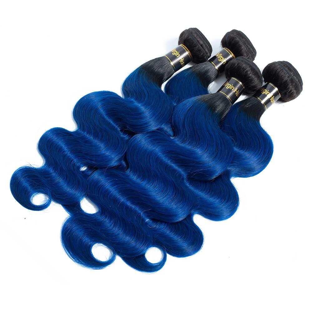 1B/Blue Body Wave человеческие волосы пучки с закрытием 2 тона Омбре волосы 3 пучка с закрытием бразильские волосы remy расширение QT