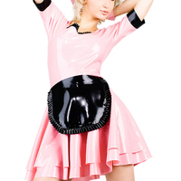 0.4MM Thickness Latex Maid Dress Pink Latex Uniform Suit With Apron (NO GLOVES)