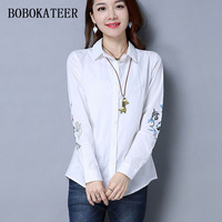 BOBOKATEER Blouses 2018 Tops Women Blouses White Embroidery Shirt Women Blouse Blusa Loose Cotton Shirts Summer
