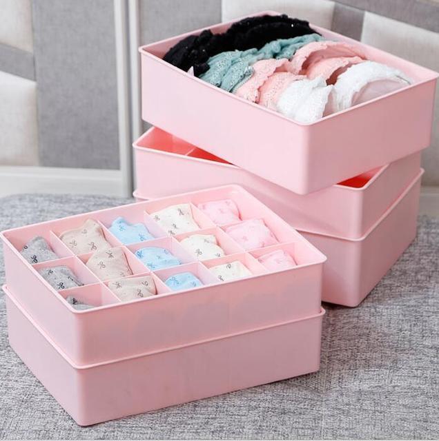 Perfect 15 Grid Plastic Organizer Box Underwear Storage Box Plastic Bra Underwear  Socks Storage Box With Lid