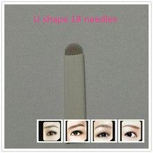 50 PCS White U18 Permanent Eyebrow Makeup Manual Tattoo Bevel Blades 18 Needles
