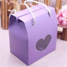 20pcs Paper Clear Rectangle Window Box multi color Paper Candy Boxes With Handle Snack Cookie Chocolates Gifts box for wedding(China)