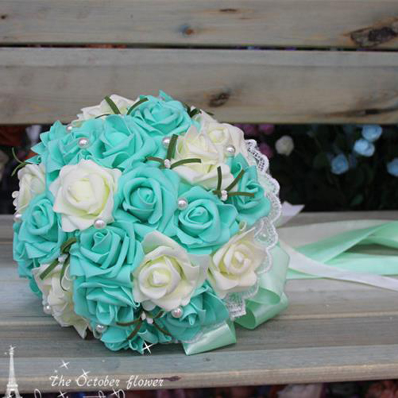 Image 3 - Cheap Korean bride holding flowers bridesmaids holding flowers simulation Rose bridal bouquet ramos de noviaramos de noviahold flowerrose bridal bouquet -