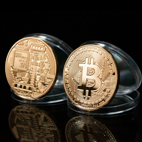 Gold Plated  Physical Bitcoins - 1 of each -Casascius Bit Coin BTC With Case For Souvenir New Year Gift BTC001