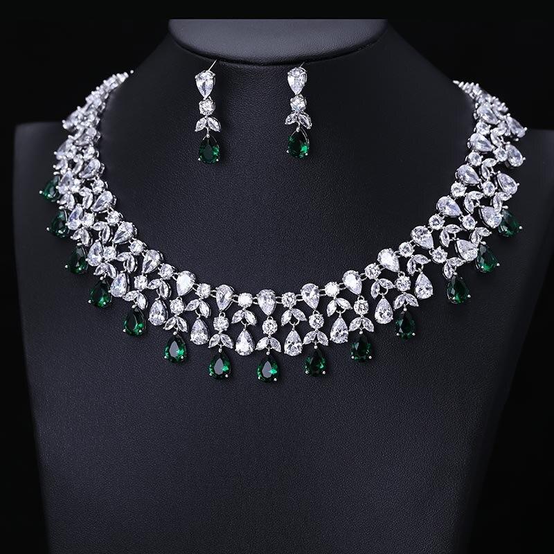 Newest Luxury Sparking Brilliant Cubic Zircon Drop Earrings Necklace Heavy Dinner Jewelry Sst Wedding Bridal Dress Accessories men beaded bracelet red