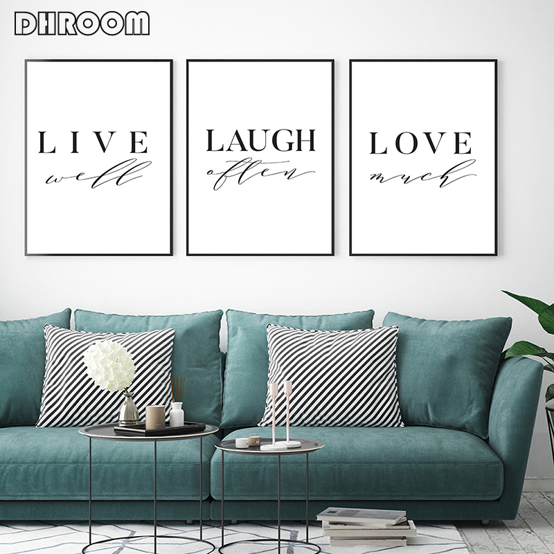 Nordic Poster Live Laugh Love Print Picture Canvas Prints Nursery Art Painting Wall Art for Living Room Minimalist Decor in Painting Calligraphy from Home Garden