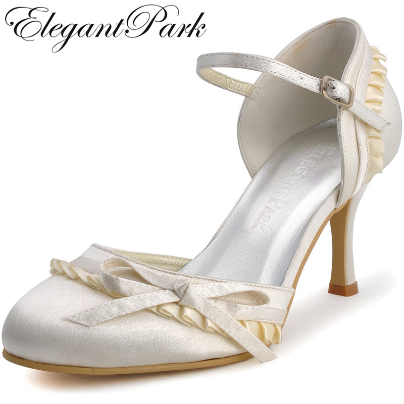 Women's shoes for Bride EP11070 White Ivory High Heel Satin Woman Bridal Wedding Shoes Evening Prom Party Pumps