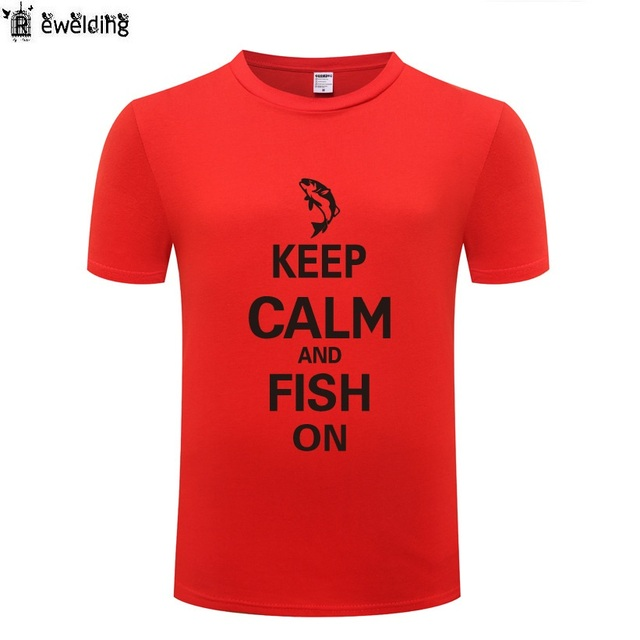 e324a73a0e Keep Calm and Fish on - Camping T Shirt Men Funny Cotton Short Sleeve  Tshirt Streetwear Novelty T-Shirt for Men