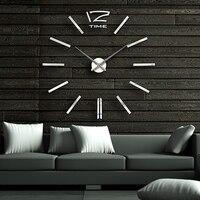 diy ساعة الحائط كتم يراقب حركة كبيرة قياس ثلاثة-- الأبعاد ملصقات الحائط الديكور ساعة