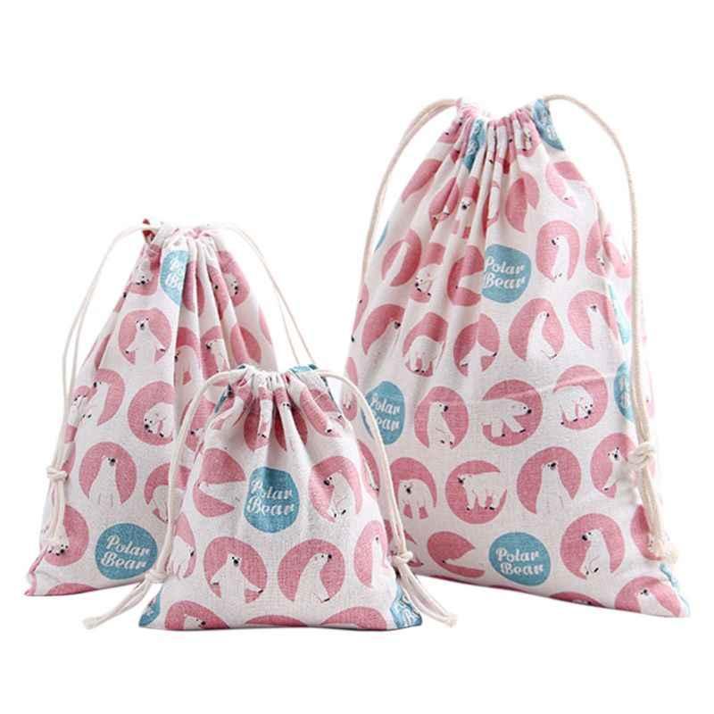 Porta Feixe Saco de Cordão de Impressão portátil De Armazenamento Bolsa De Viagem saco de Compras Sacos de Presente de Natal