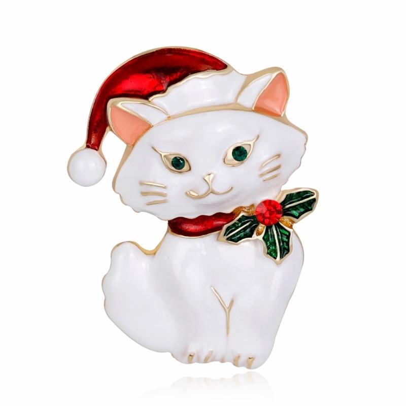 Cute Christmas Cat Brooch Pin