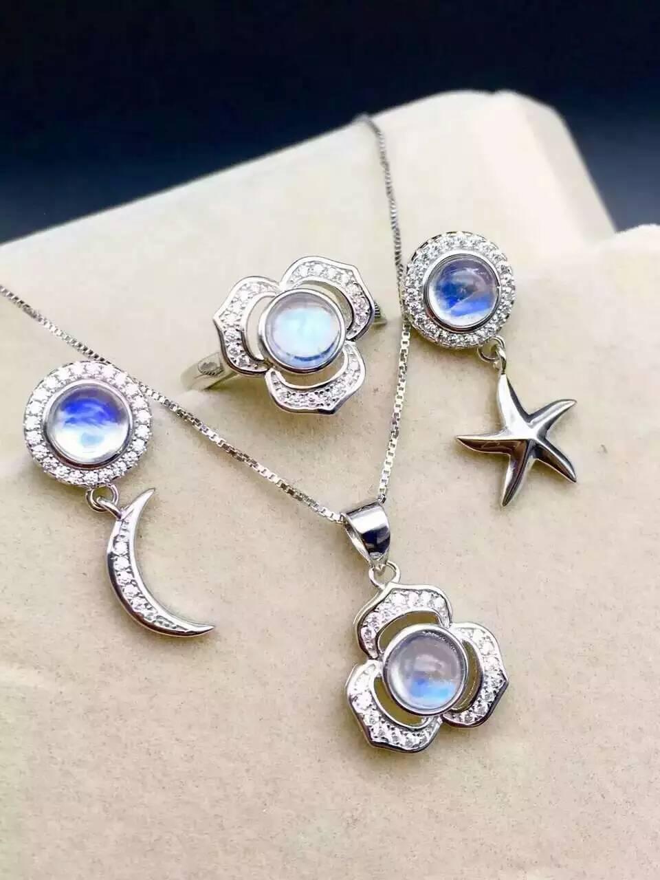Натуральный голубой лунный камень Gem Jewelry комплекты природных драгоценных камней кольцо Серьги Кулон Серебро 925 партия звезда луна женщин п
