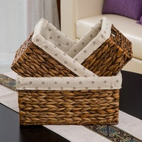Retro color Europe style home Rattan storage basket hand made Clothes toys sundries storage bag Fruit boxes free shipping