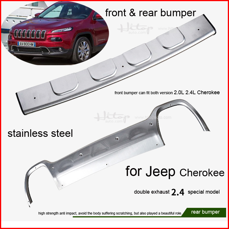 25f4182aecf8b for JEEP Cherokee 2014 2015 2016 front rear stainless steel bumper skid  plate bumper guard