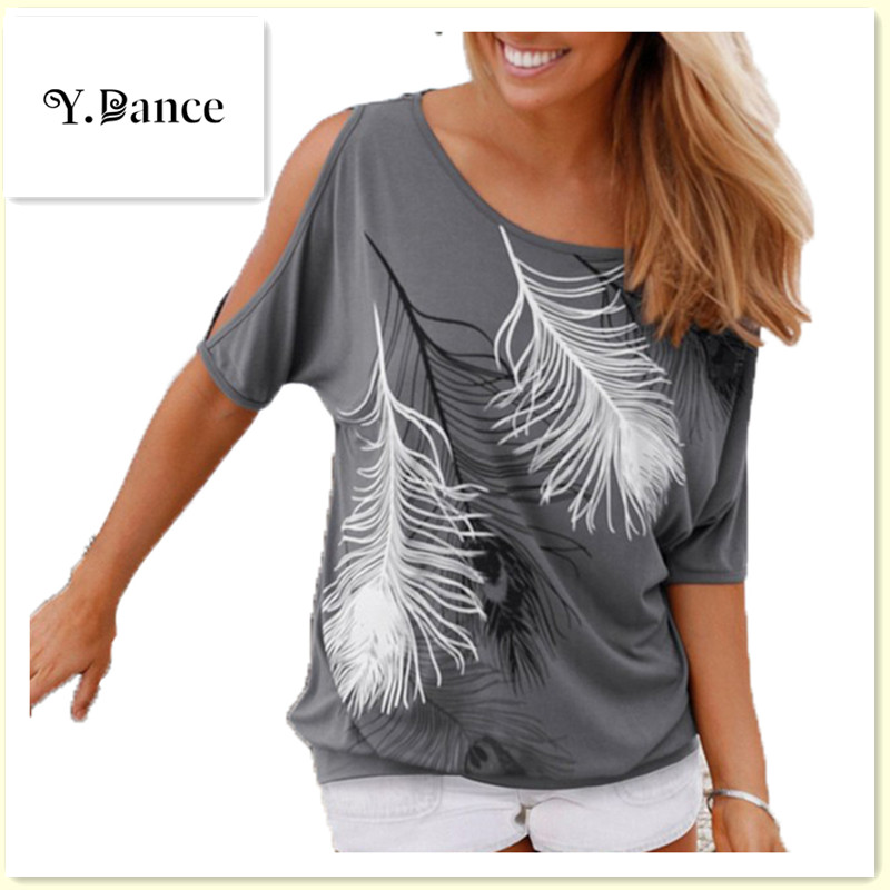Sell like hot cakes Summer Women Feather Printed T-shirts O- neck Strapless Shirts Off Shoulder Short-sleeved T-shirt Loose Type
