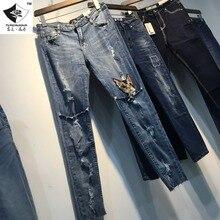 HDP023 женская мода Цветок вышивка джинсы ложные две брюки девять нерегулярные длина лодыжки брюки вышивка джинсы/5 размер