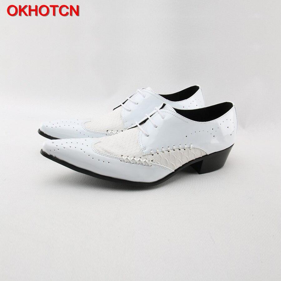 Heißer Italienische Klassische Brogue Männer Echtes Leder Schuhe Lace Up Formale Business Kleid Schuhe Patchwork Weiß Stricken Männer Hochzeit Schuhe-in Formelle Schuhe aus Schuhe bei  Gruppe 1